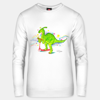 Thumbnail image of Happy Parasaurolophus with his scooter Unisex sweater, Live Heroes