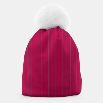 Thumbnail image of Grey stripes on magenta Beanie, Live Heroes