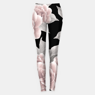 Thumbnail image of Dreamy Flowers on Black #1 #floral #decor #art Leggings, Live Heroes