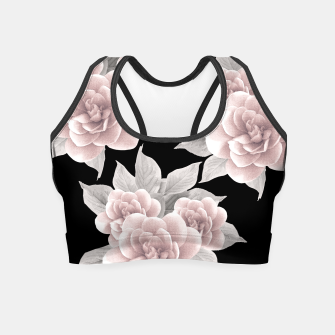 Thumbnail image of Dreamy Flowers on Black #1 #floral #decor #art Crop Top, Live Heroes