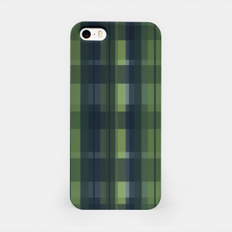 Thumbnail image of Dark blue and Green Modern Tartan iPhone Case, Live Heroes
