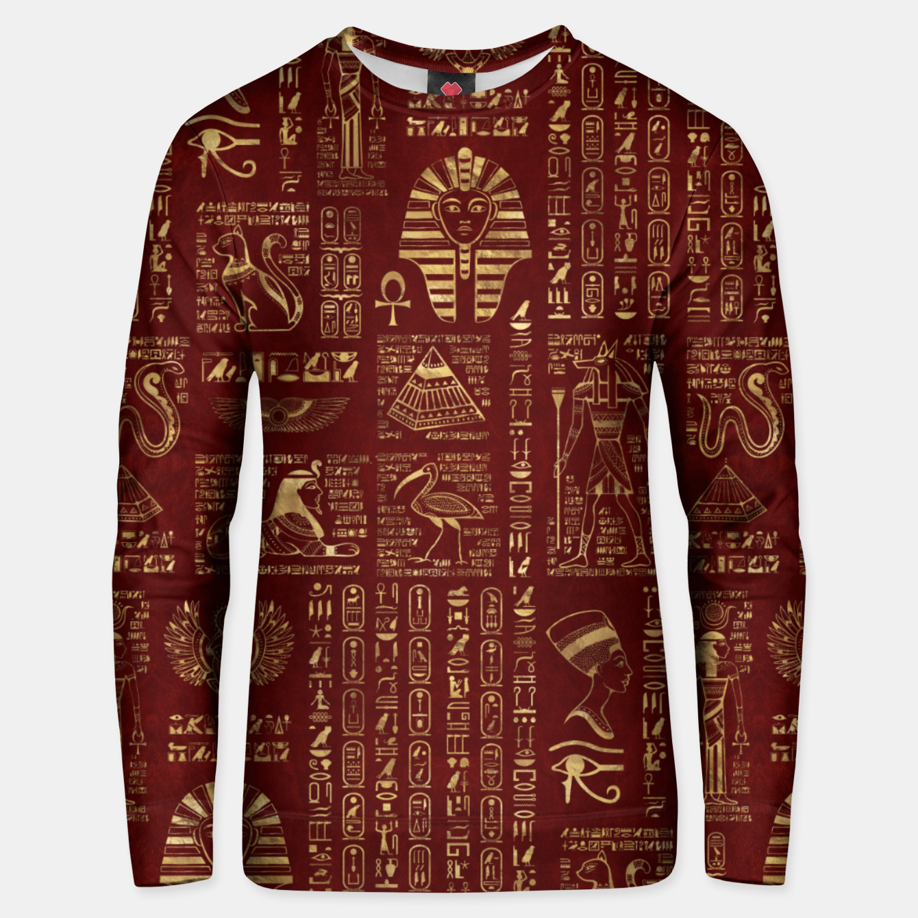 Image of Egyptian hieroglyphs and symbols gold on red leather  Unisex sweater - Live Heroes