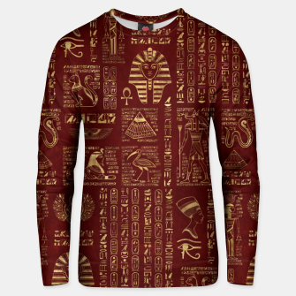 Thumbnail image of Egyptian hieroglyphs and symbols gold on red leather  Unisex sweater, Live Heroes