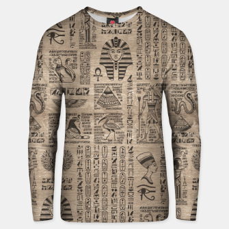 Thumbnail image of Egyptian hieroglyphs and symbols on wood Unisex sweater, Live Heroes