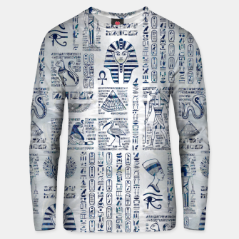 Thumbnail image of Egyptian hieroglyphs and deities abalone on pearl Unisex sweater, Live Heroes