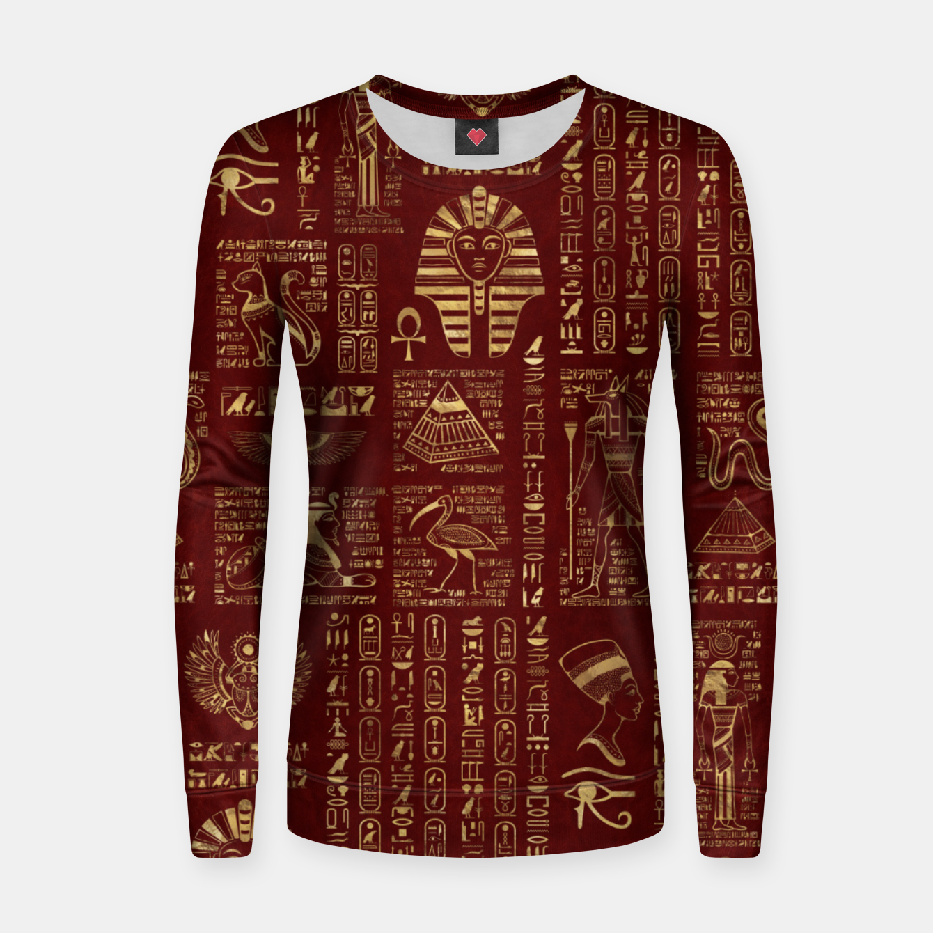 Image of Egyptian hieroglyphs and symbols gold on red leather  Women sweater - Live Heroes