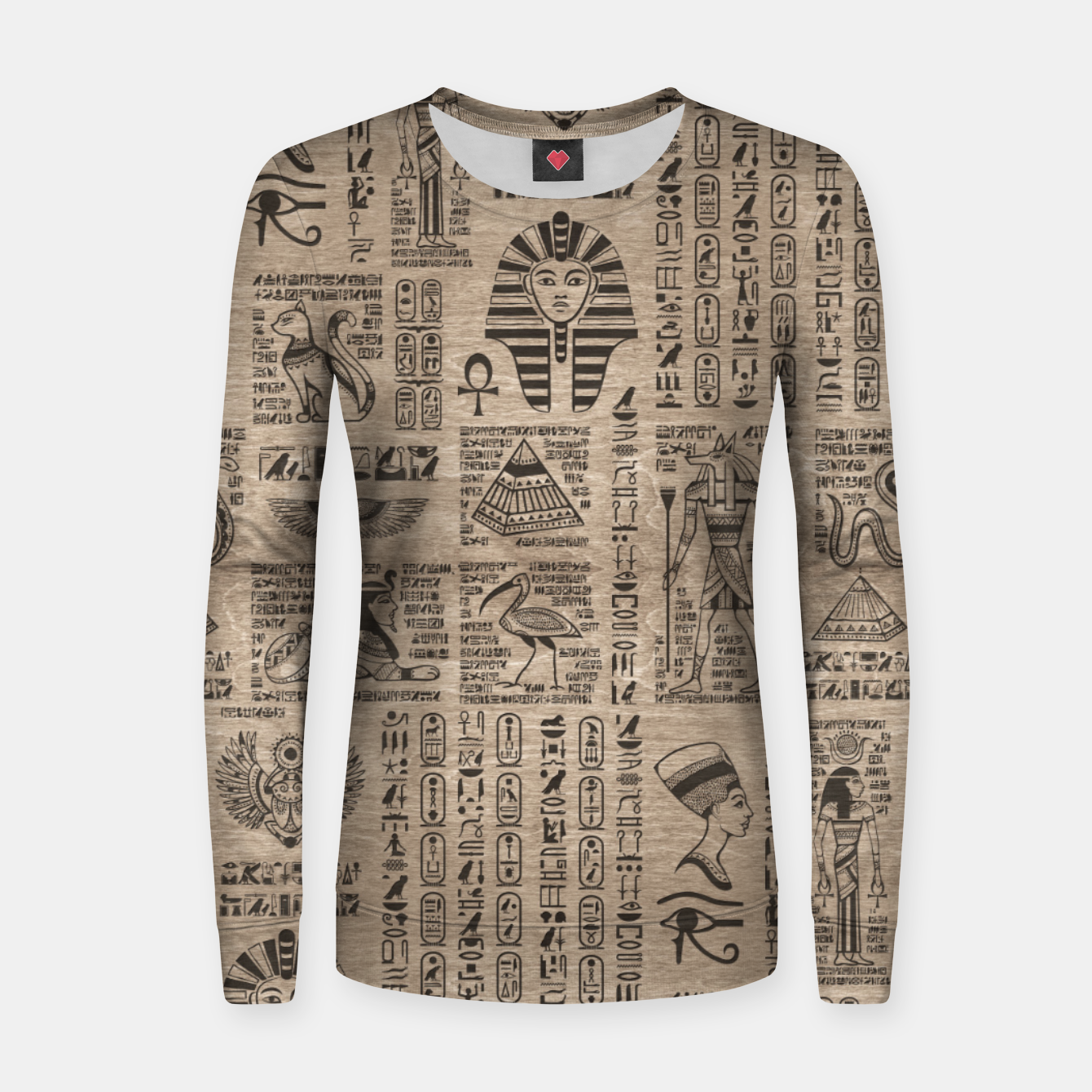 Image of Egyptian hieroglyphs and symbols on wood Women sweater - Live Heroes