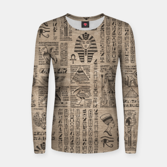 Thumbnail image of Egyptian hieroglyphs and symbols on wood Women sweater, Live Heroes