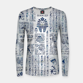 Thumbnail image of Egyptian hieroglyphs and deities abalone on pearl Women sweater, Live Heroes