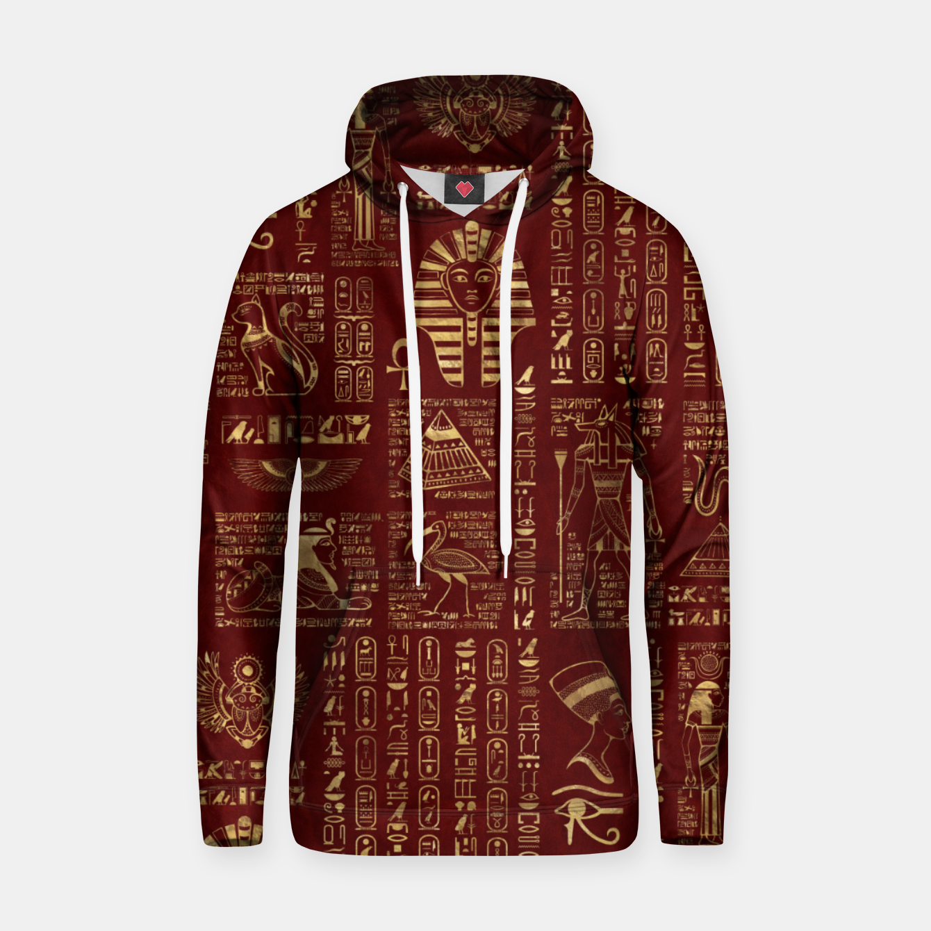 Image of Egyptian hieroglyphs and symbols gold on red leather  Hoodie - Live Heroes