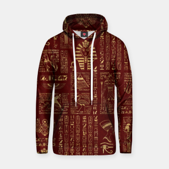 Egyptian hieroglyphs and symbols gold on red leather  Hoodie thumbnail image