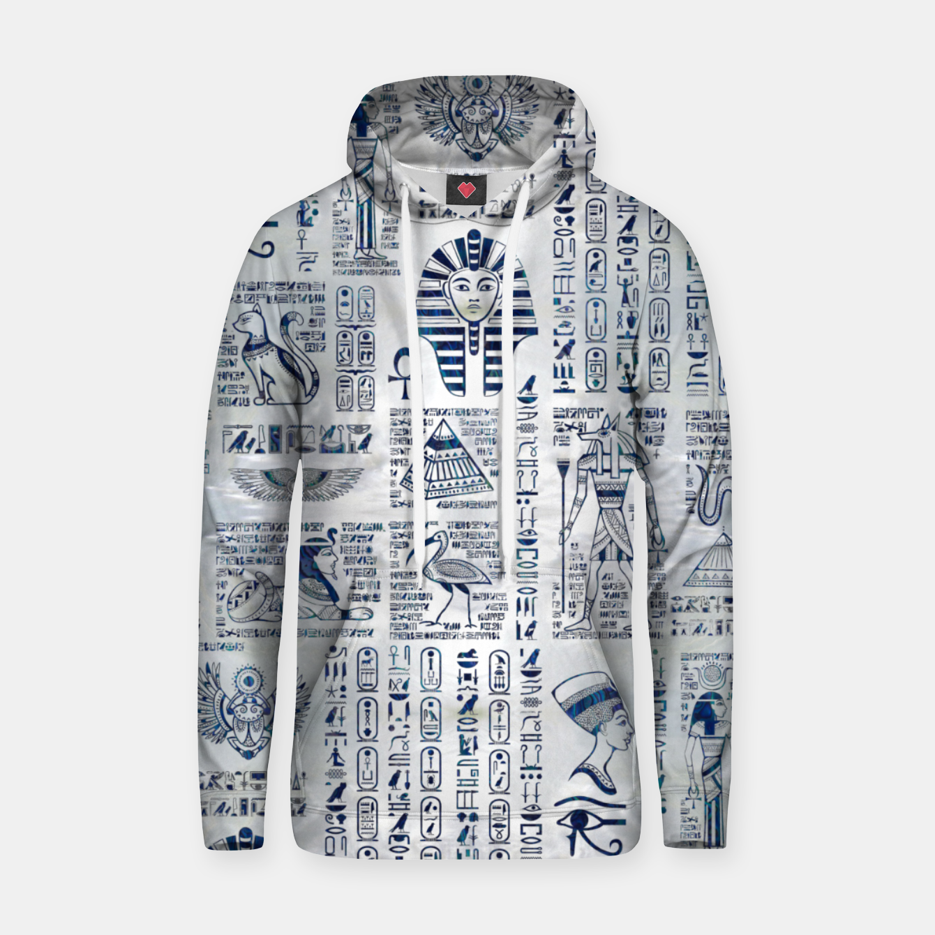 Image of Egyptian hieroglyphs and deities abalone on pearl Hoodie - Live Heroes