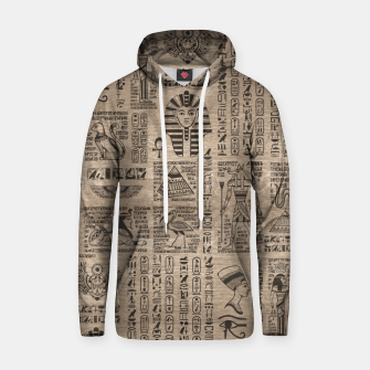 Thumbnail image of Egyptian hieroglyphs and symbols on wood Hoodie, Live Heroes
