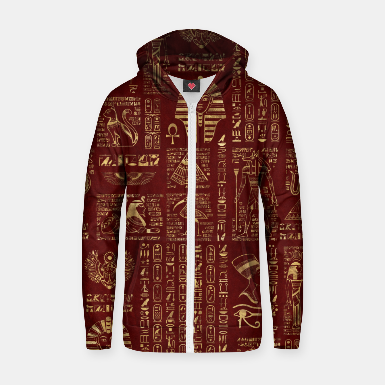 Image of Egyptian hieroglyphs and symbols gold on red leather  Zip up hoodie - Live Heroes
