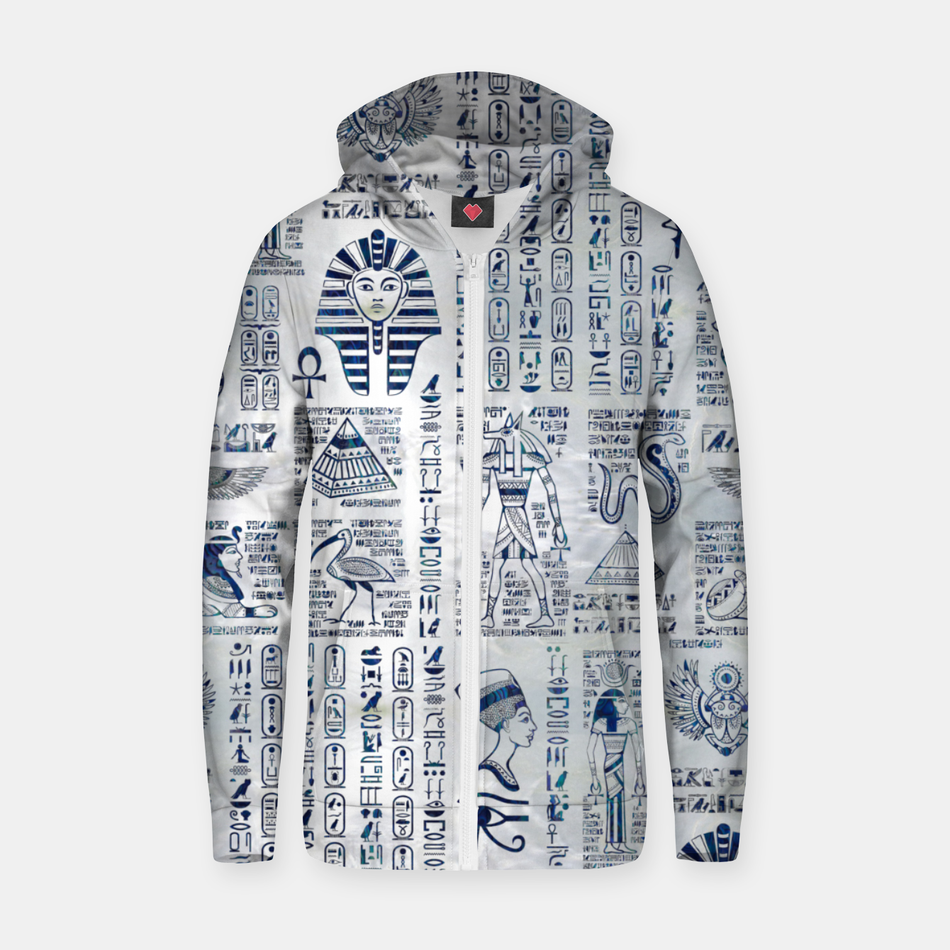Image of Egyptian hieroglyphs and deities abalone on pearl Zip up hoodie - Live Heroes