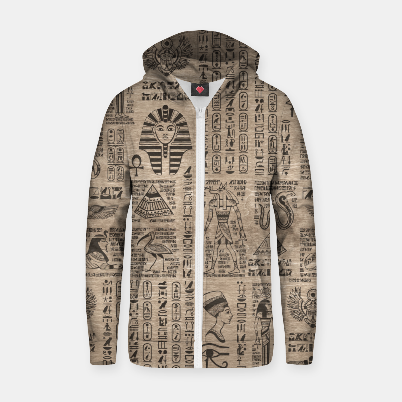 Image of Egyptian hieroglyphs and symbols on wood Zip up hoodie - Live Heroes