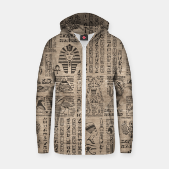 Thumbnail image of Egyptian hieroglyphs and symbols on wood Zip up hoodie, Live Heroes