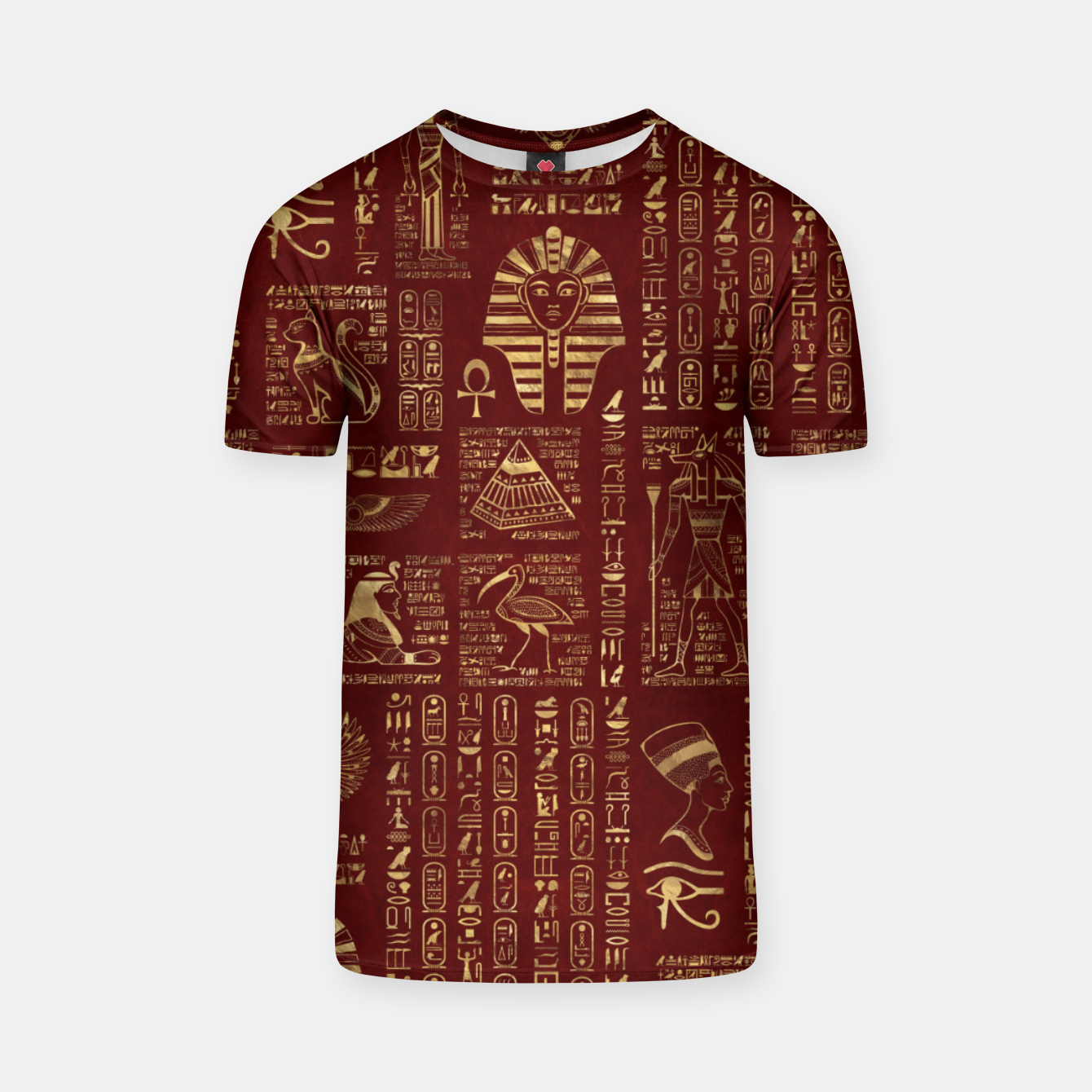 Image of Egyptian hieroglyphs and symbols gold on red leather  T-shirt - Live Heroes
