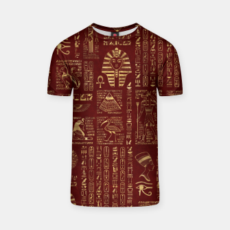 Thumbnail image of Egyptian hieroglyphs and symbols gold on red leather  T-shirt, Live Heroes