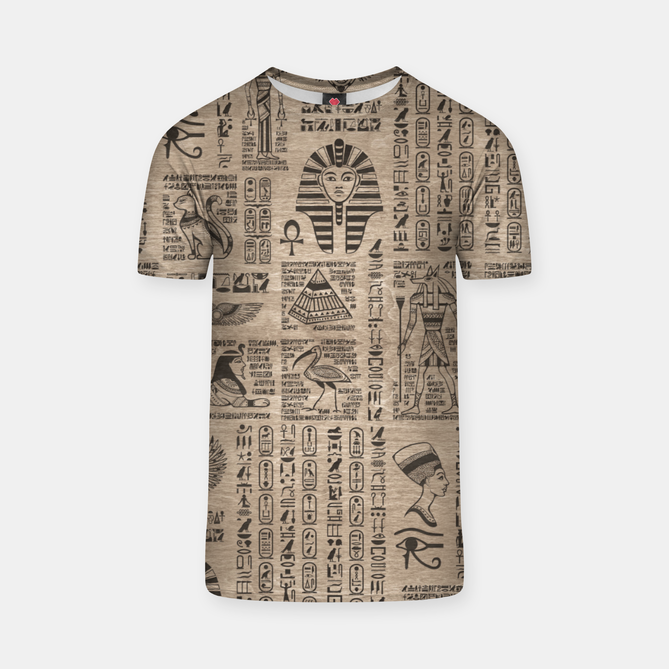 Image of Egyptian hieroglyphs and symbols on wood T-shirt - Live Heroes