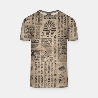 Thumbnail image of Egyptian hieroglyphs and symbols on wood T-shirt, Live Heroes
