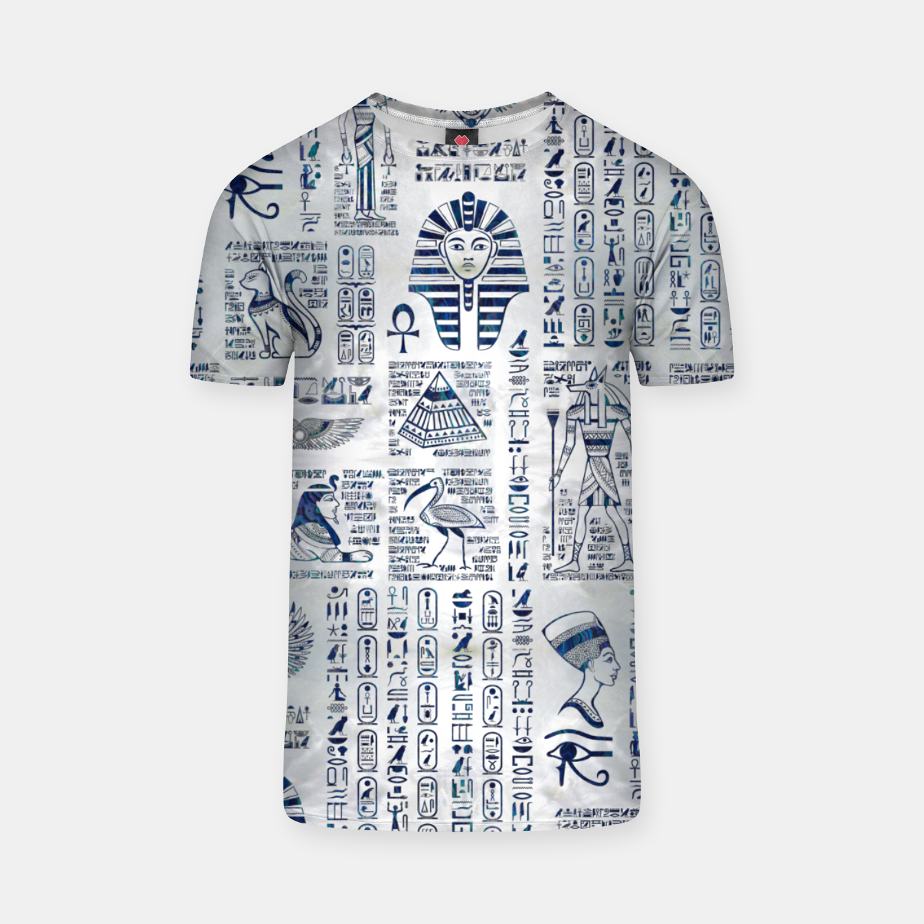 Image of Egyptian hieroglyphs and deities abalone on pearl T-shirt - Live Heroes