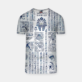 Thumbnail image of Egyptian hieroglyphs and deities abalone on pearl T-shirt, Live Heroes