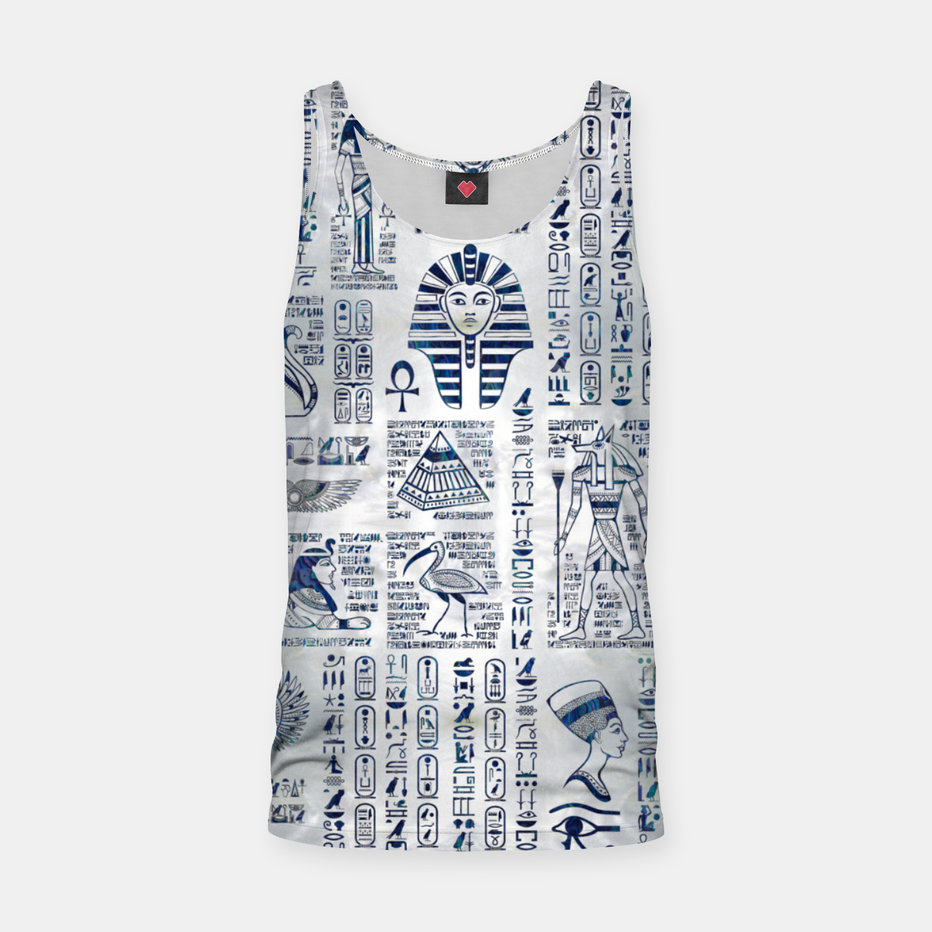 Image of Egyptian hieroglyphs and deities abalone on pearl Tank Top - Live Heroes