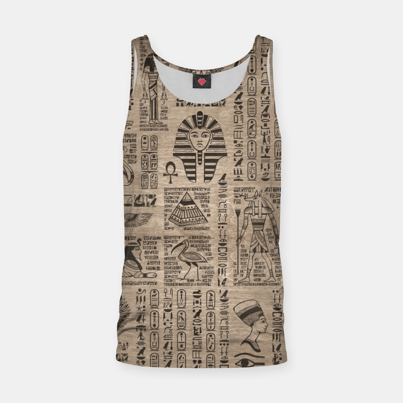 Image of Egyptian hieroglyphs and symbols on wood Tank Top - Live Heroes