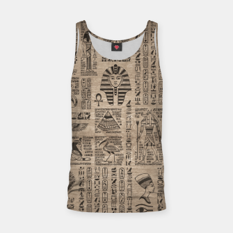 Miniatur Egyptian hieroglyphs and symbols on wood Tank Top, Live Heroes