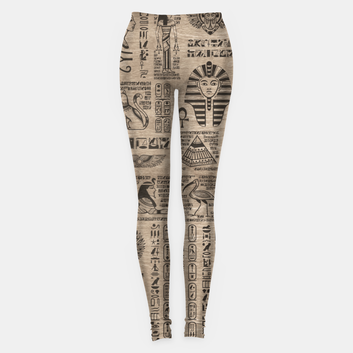Image of Egyptian hieroglyphs and symbols on wood Leggings - Live Heroes