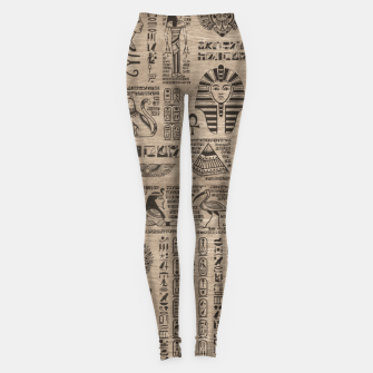Miniatur Egyptian hieroglyphs and symbols on wood Leggings, Live Heroes