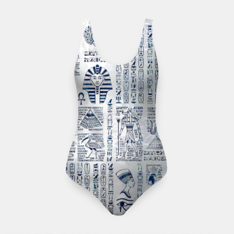 Miniatur Egyptian hieroglyphs and deities abalone on pearl Swimsuit, Live Heroes