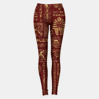 Egyptian hieroglyphs and symbols gold on red leather  Leggings thumbnail image