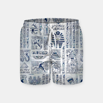 Thumbnail image of Egyptian hieroglyphs and deities abalone on pearl Swim Shorts, Live Heroes