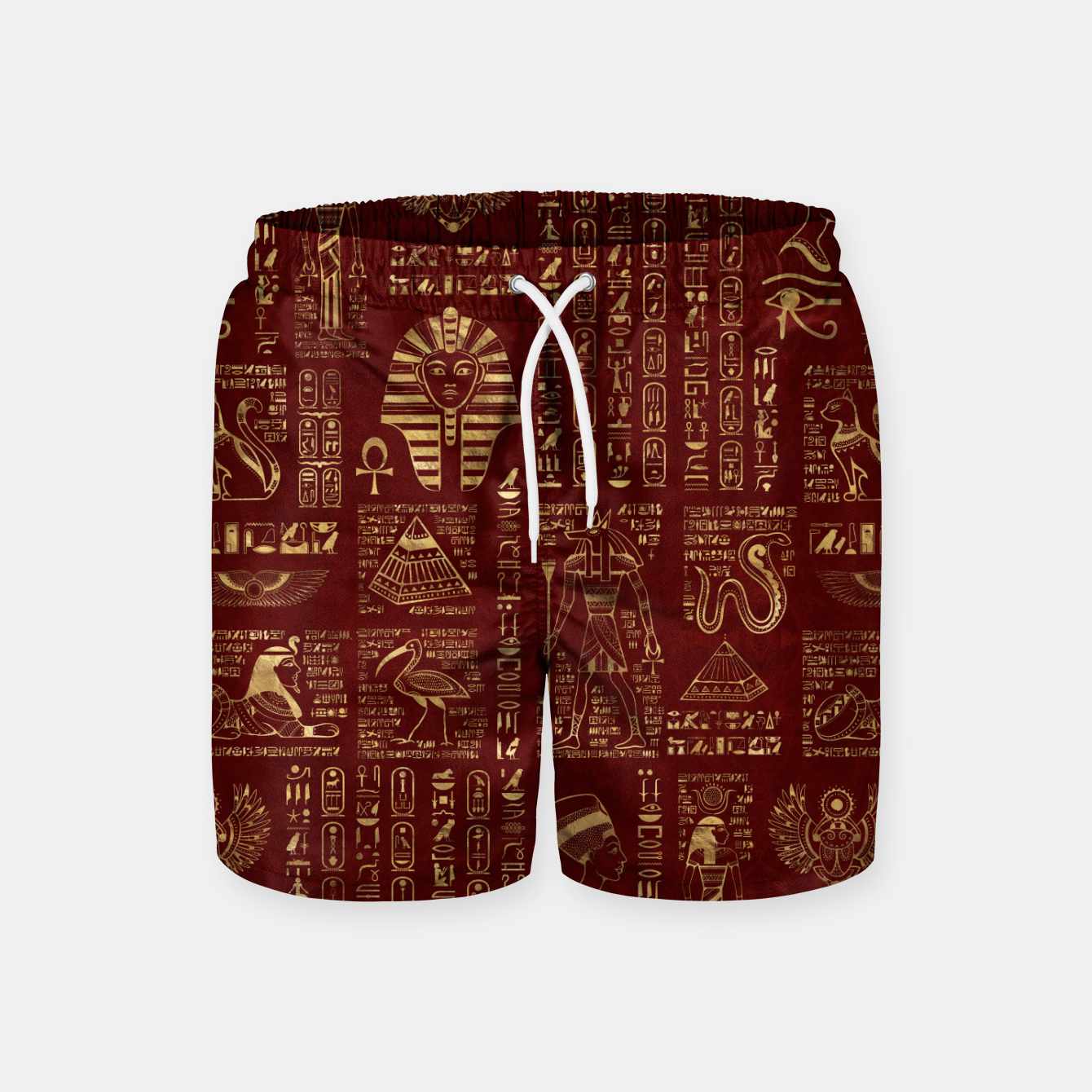 Image of Egyptian hieroglyphs and symbols gold on red leather  Swim Shorts - Live Heroes
