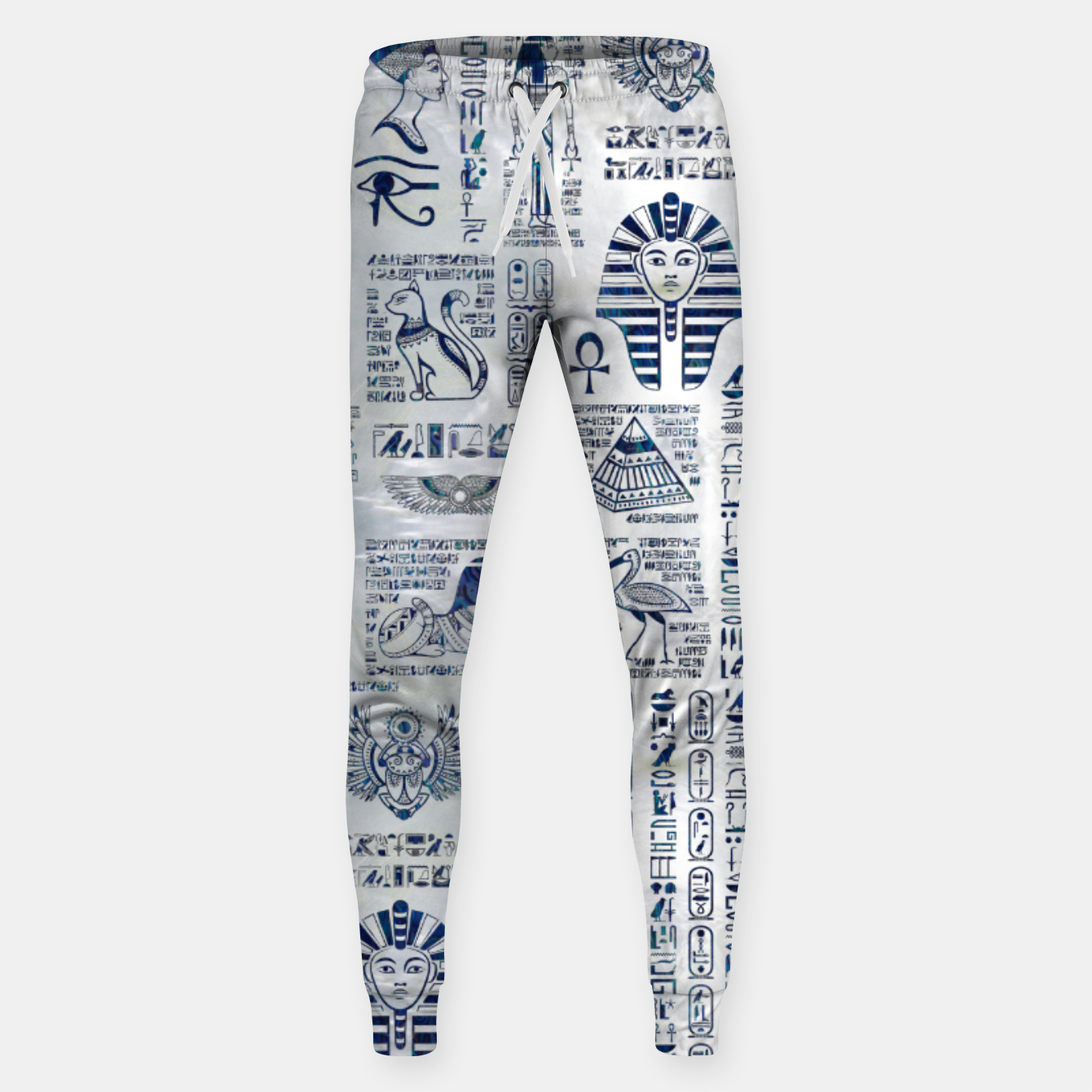 Image of Egyptian hieroglyphs and deities abalone on pearl Sweatpants - Live Heroes