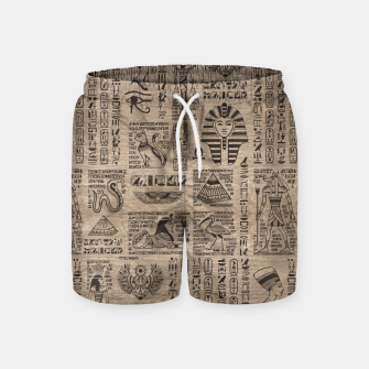 Miniatur Egyptian hieroglyphs and symbols on wood Swim Shorts, Live Heroes