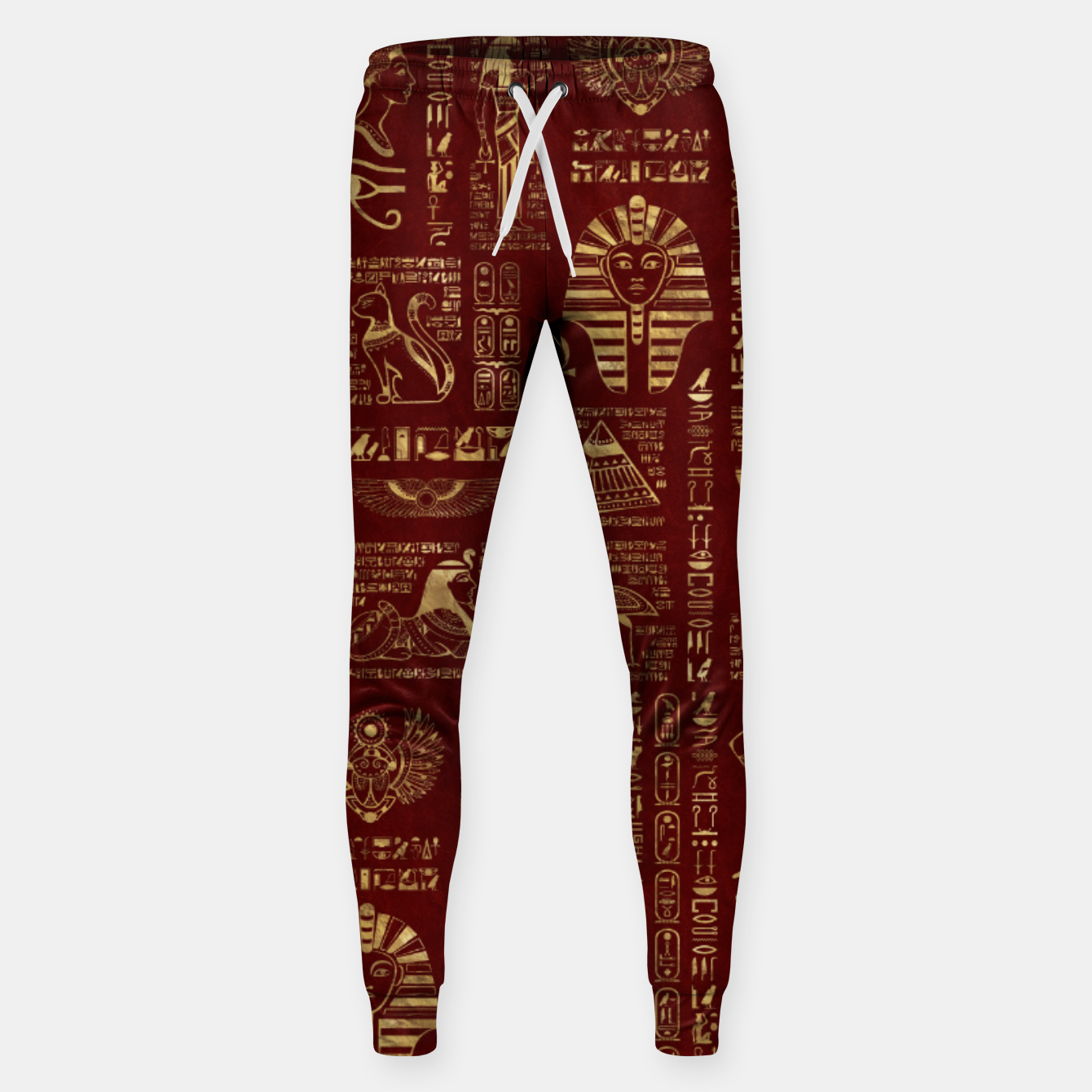 Image of Egyptian hieroglyphs and symbols gold on red leather  Sweatpants - Live Heroes