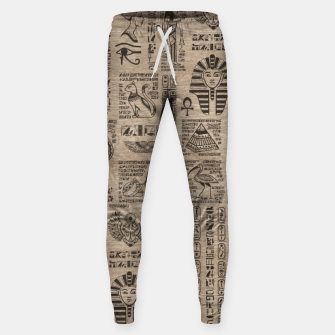 Egyptian hieroglyphs and symbols on wood Sweatpants thumbnail image