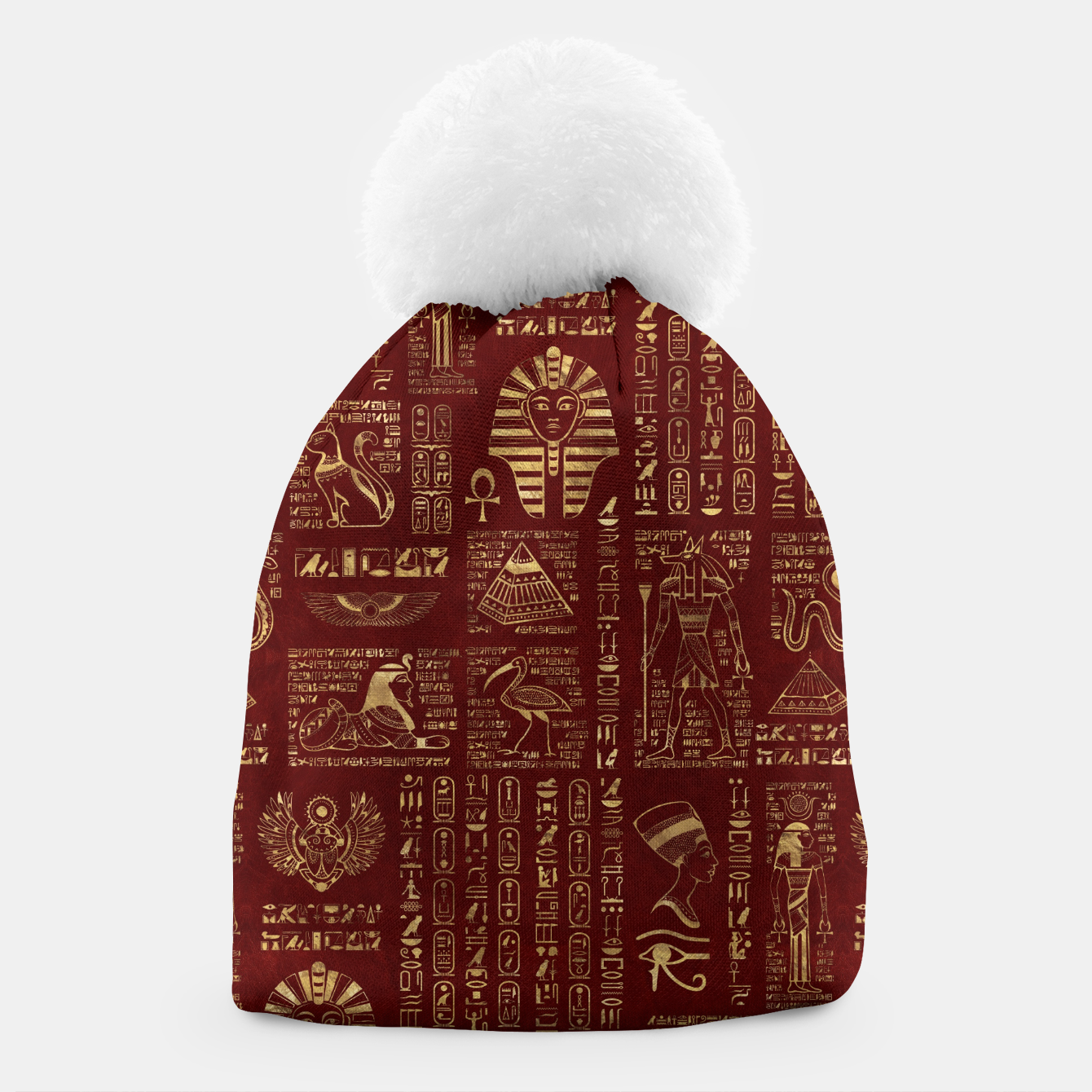 Image of Egyptian hieroglyphs and symbols gold on red leather  Beanie - Live Heroes