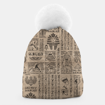 Egyptian hieroglyphs and symbols on wood Beanie thumbnail image