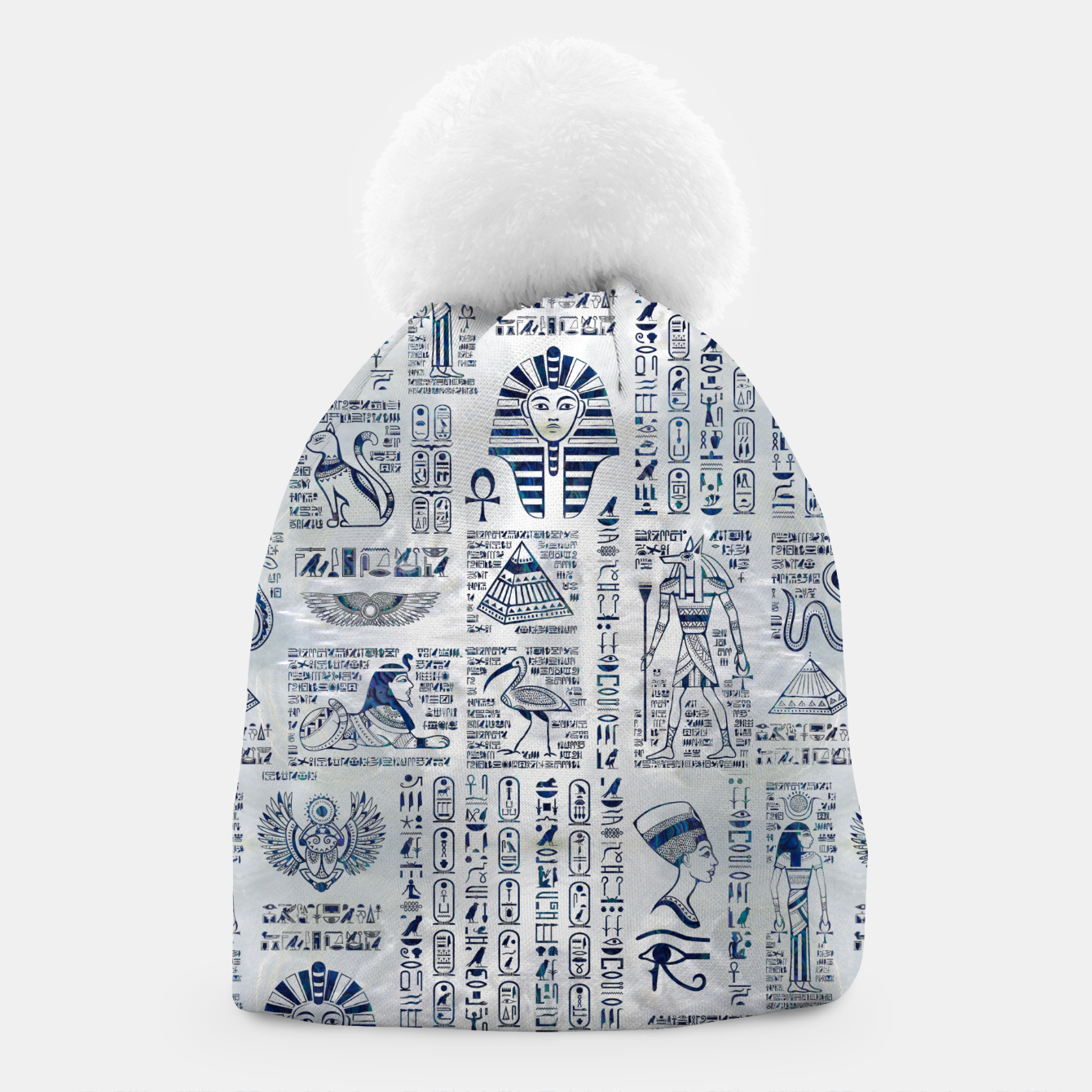 Image of Egyptian hieroglyphs and deities abalone on pearl Beanie - Live Heroes