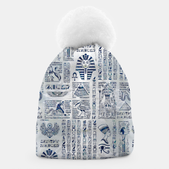 Thumbnail image of Egyptian hieroglyphs and deities abalone on pearl Beanie, Live Heroes