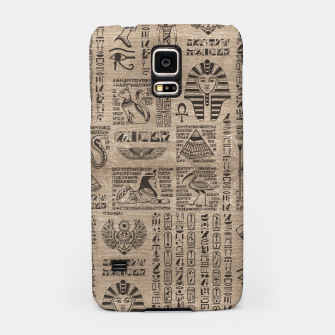 Miniaturka Egyptian hieroglyphs and symbols on wood Samsung Case, Live Heroes