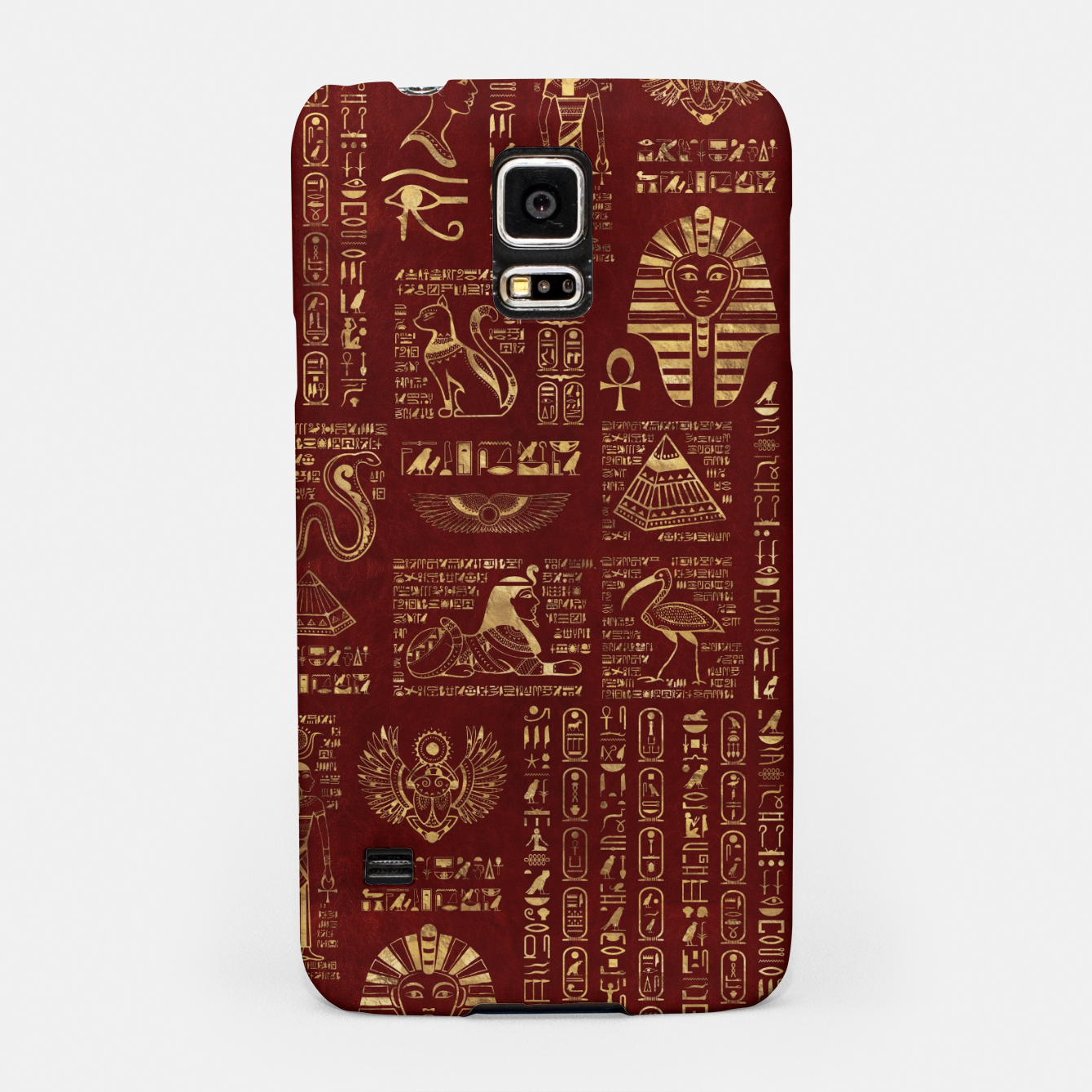 Image of Egyptian hieroglyphs and symbols gold on red leather  Samsung Case - Live Heroes