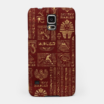 Egyptian hieroglyphs and symbols gold on red leather  Samsung Case thumbnail image