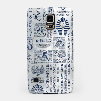 Miniaturka Egyptian hieroglyphs and deities abalone on pearl Samsung Case, Live Heroes
