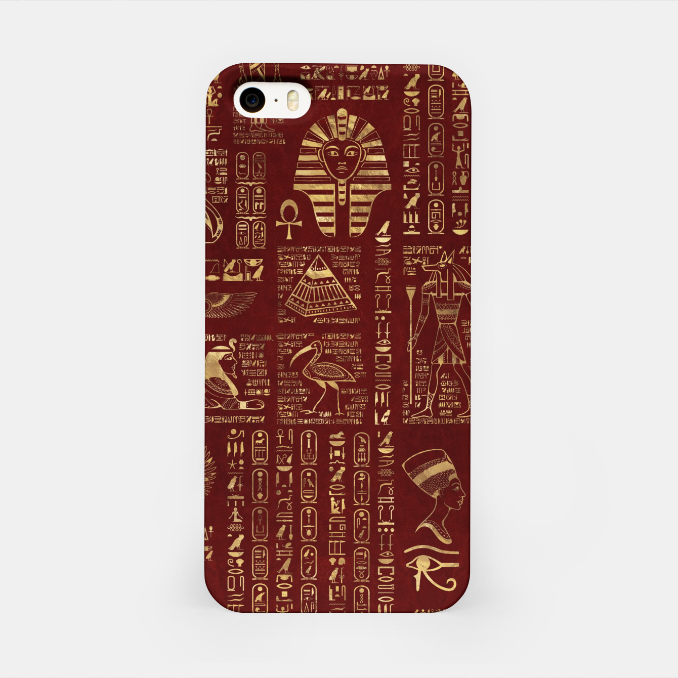 Image of Egyptian hieroglyphs and symbols gold on red leather  iPhone Case - Live Heroes