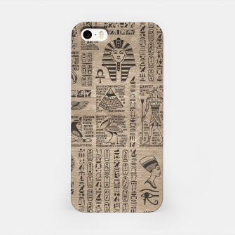 Thumbnail image of Egyptian hieroglyphs and symbols on wood iPhone Case, Live Heroes